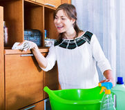 Happy adult brunette dusting with cleanser Royalty Free Stock Images