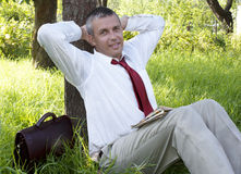 The happy adult businessman Stock Photography