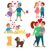Happy adult couple in love feeling emotions vector set. Happy smiling couple in love vector characters togetherness. Romantic people together relationship Stock Photos
