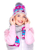 Happy adult girl in winter clothes with bright positive emotions Royalty Free Stock Photos