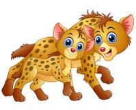 Happy adult hyena and cub hyena Royalty Free Stock Photo