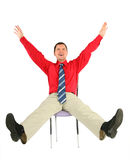 Happy adult man on chair isolated Stock Photo