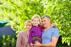 Happy adult parents with small son Royalty Free Stock Images
