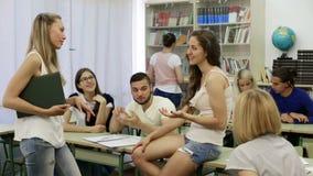 Happy adult students during break stock video