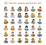 Happy adult vector people potraits icon set Royalty Free Stock Images