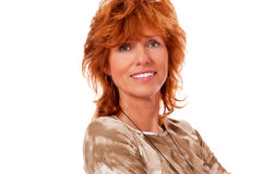 Happy adult woman with red hair and big smile portrait Stock Photo