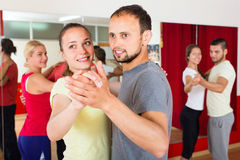 Happy adults dancing pair dance Stock Photography