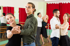 Happy  adults  enjoying of classical dance Royalty Free Stock Images