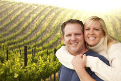 Happy Affectionate Couple at Beautiful Wine Vineyard Stock Photos