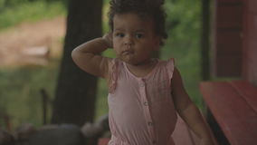 Happy African-American baby stock video
