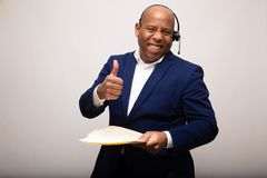 Happy African American Businessman With Thumbs Up royalty free stock photography
