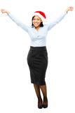 Happy African American businesswoman celebrating christmas weari Stock Photos