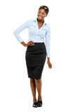 Happy African American businesswoman full length portrait on white Stock Images