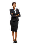 Happy African American businesswoman full length portrait on white. African American businesswoman full length portrait smiling Royalty Free Stock Photography