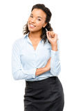Happy African American Businesswoman smiling isolated on white  Stock Photo