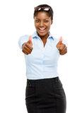 Happy African American businesswoman thumbs up isolated on white Stock Photo