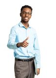 Happy african american college student with laptop and finger up Royalty Free Stock Photography