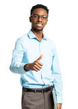 Happy african american college student with laptop and thumb up Stock Images