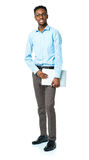 Happy african american college student standing with laptop on w Stock Images