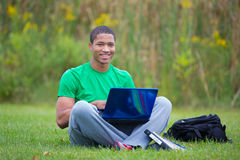 Happy African American College Student Study Outdoor Royalty Free Stock Images