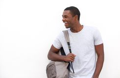 Free Happy African American College Student With Bag Royalty Free Stock Image - 56495356