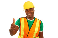 Happy African American Construction Giving Thumbs Up Royalty Free Stock Photo