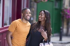 A happy african american couple enjoying a day out together. Happy young african american couple enjoying their day together Stock Photos