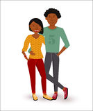 Happy african american couple flat illustration Stock Photography