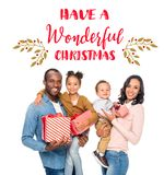 Happy african american family with christmas gifts royalty free stock images