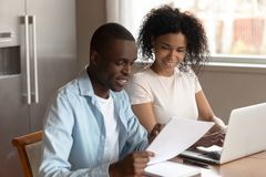 Free Happy African American Family Couple Planning Family Budget, Monthly Expenses. Royalty Free Stock Images - 161907819