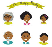 Happy African American family faces portraits of six members: parents,their son and daughter, and grandparents. Vector illustratio Stock Photo