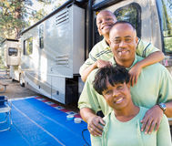 Happy African American Family In Front of Their Beautiful RV stock photos