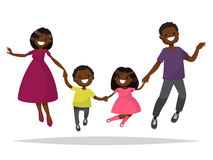 Happy African-American family is jumping. Dad mom daughter and s. On holding hands jumped. Vector illustration of a flat design Stock Image