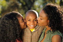 Happy African American Family, Kiss Stock Photos
