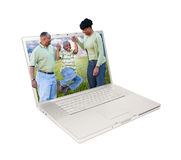 Happy African American Family in Laptop Stock Photo
