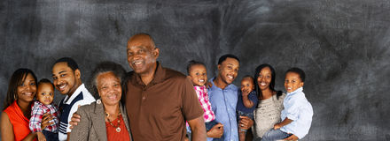 Happy African American Family. Large group of African American family members Stock Photos
