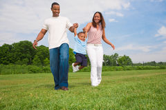 Happy African American Family Outdoor Portrait Stock Photo