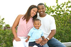 Happy African American Family Outdoor Portrait Royalty Free Stock Photos