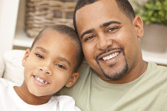 Happy African American Father And Son Family Stock Images