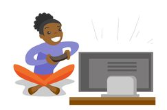 Young african gamer playing video game on the TV. Happy african-american gamer playing video game on the television. Excited young woman with console in hands Stock Images