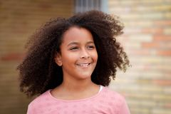 Happy African American girl with afro hair Stock Photography