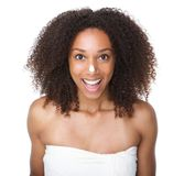Happy african american girl with cream on nose Stock Photography