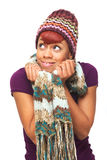 Happy African American Girl Holding Her Scarf Royalty Free Stock Photography