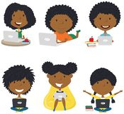 Happy African-American girls with laptops royalty free stock photography