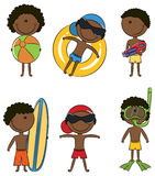 Happy African-American kids on the beach vector illustration