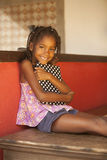 Happy african american little girl with tablet Royalty Free Stock Photos