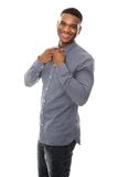 Happy african american man in gray shirt Royalty Free Stock Images