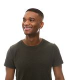 Happy african american man in green t-shirt Stock Photography