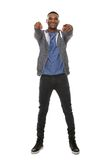 Happy african american man pointing finger Royalty Free Stock Photo