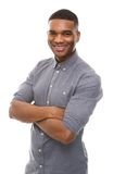 Happy african american man posing with arms crossed Royalty Free Stock Images